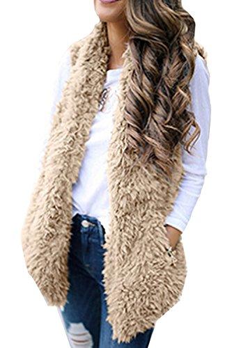 GREMMI+Womens+Vest+Sleeveless+Faux+Fur+Cardigan+Jacket+Open+Front+Fleece+Coat+With+Pockets