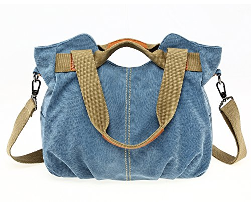 Women's Ladies Casual Vintage Canvas Daily Purse Top Handle Shoulder Tote Shopper Handbag (Blue) by PlasMaller