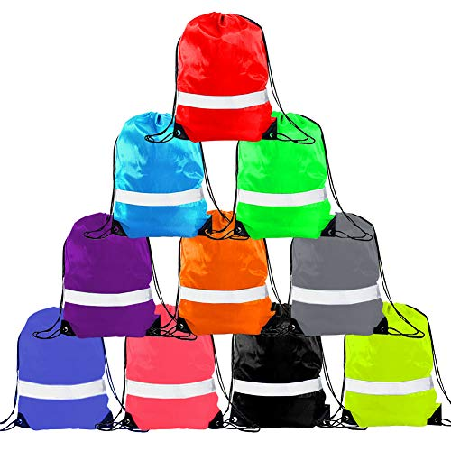 Drawstring Backpack - Drawstring Bag Reflective Cinch Sacks String Backpack Bulk Bsgs ()