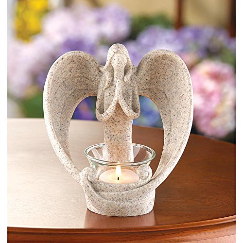Candleholders Angels Desert Angel Candle Holder for Tealight Faux Stone Finish Hope and Faith by Candle Holders