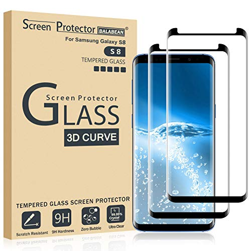 (2 Pack) Galaxy S8 Screen Protector 3D Curved Glass, [Case Friendly] [Bubble Free] Ultra Thin HD Clear 9H Hardness Anti-Scratch Crystal Clear Screen Protector for Samsung Galaxy S8 (NOT S8 Plus) (Protector Screen Crystal)