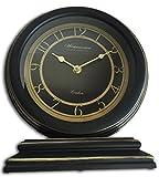Decorative Designer Plastic Mantle Clock Two Tone Black Antique Gold Look