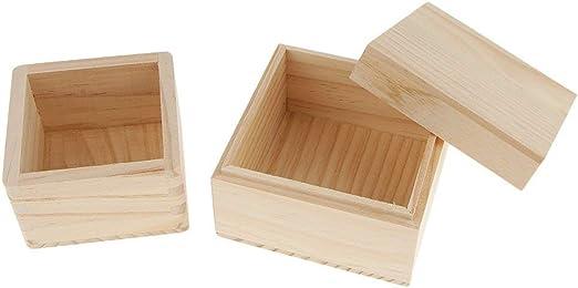 Cremación Memorial 2 piezas de cajas de madera sin terminar con ...