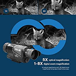 "ESSLNB Night Vision Monocular 5X40 Night Vision Infrared Scope HD Digital Vision Scope Take Photos and Video Playback 1.5"" LCD with TF Card for Hunting Security Surveilla"