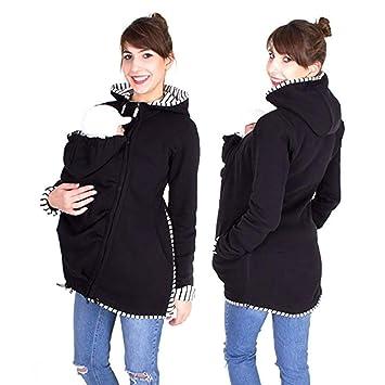 Hiver Maternité Veste Porte Bébé 3 en 1 Multifonctionnel Hoodies Chaud  Kangourou Sweat-Shirt Imperméabiliser db802a3203a