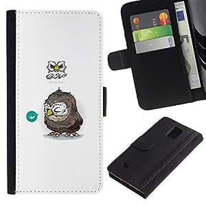 // PHONE CASE GIFT // Moda Estuche Funda de Cuero Billetera Tarjeta de crédito dinero bolsa Cubierta de proteccion Caso Samsung Galaxy Note 4 IV / Tiny Owl /