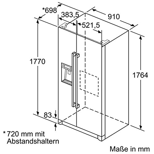 Neff ka3902i20Frigo Porte côté à côté–Réfrigérateur Side-By-Side (autonome, acier inoxydable, porte française, a +, LED, sn-t)