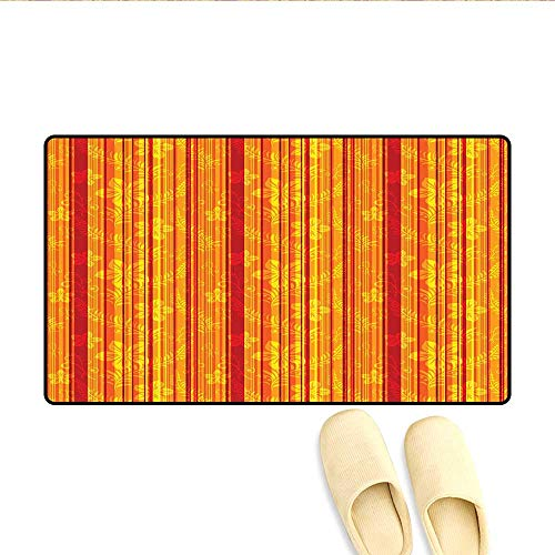 Bath Mat Vertically Stripes Pattern with Stylized Flowers Swirled Leaves and Dots Design Door Mat Outside Orange Yellow 20