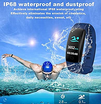 Mulk HD Color Fitness Tracker F64 - Weather Forecast, Swimming, GPS, Music, Biking, Running, Heart Rate, Blood Pressure, Blood Oxygen Sleep Monitor, Step Counter, Calorie Burn Waterproof for All Ages