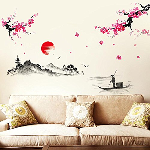 Chinese Decal - BIBITIME Traditional Chinese Painting Wall Art Sticker Plum Blossom Landscape Sunset River Fisherman Vinyl Decal Decor for Living Room TV Background