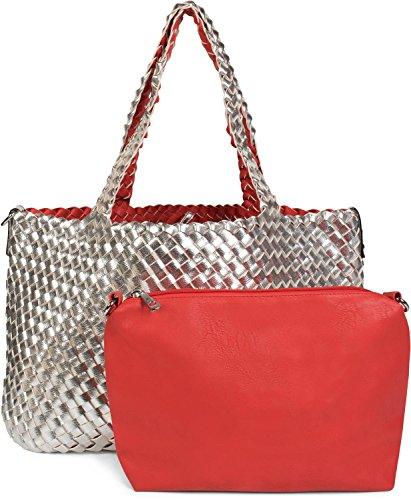 styleBREAKER XXL reversible bag in woven look, shopping bag, 2 bags, hand bag set, bag in bag, shoulder bag, ladies 02012163, Color Silver/Red Silver/Red