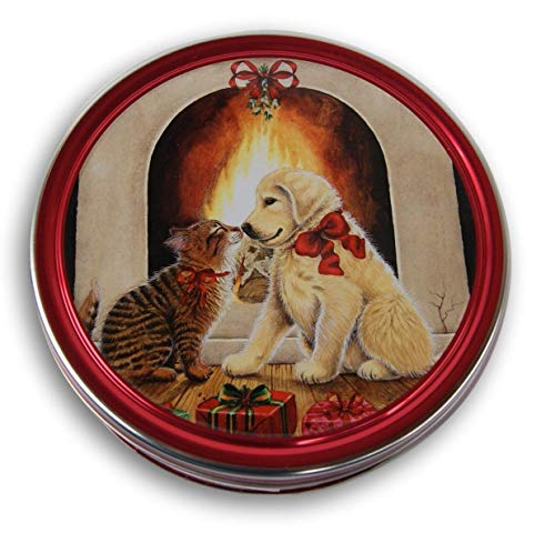 Christmas Holiday Butter Cookies Tin (Puppy and Kitten)