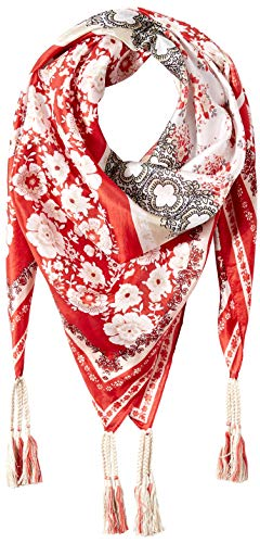 Johnny Was Women's Patterned Silk Square Scarf with Tassels, red/multi O/S