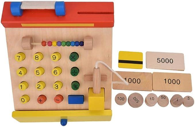 Juegos de simulación, Caja registradora de Madera Modelo cajero de Juguete Caja registradora de Juguete Juego con Dinero ficticio Juguetes educativos para niños: Amazon.es: Juguetes y juegos