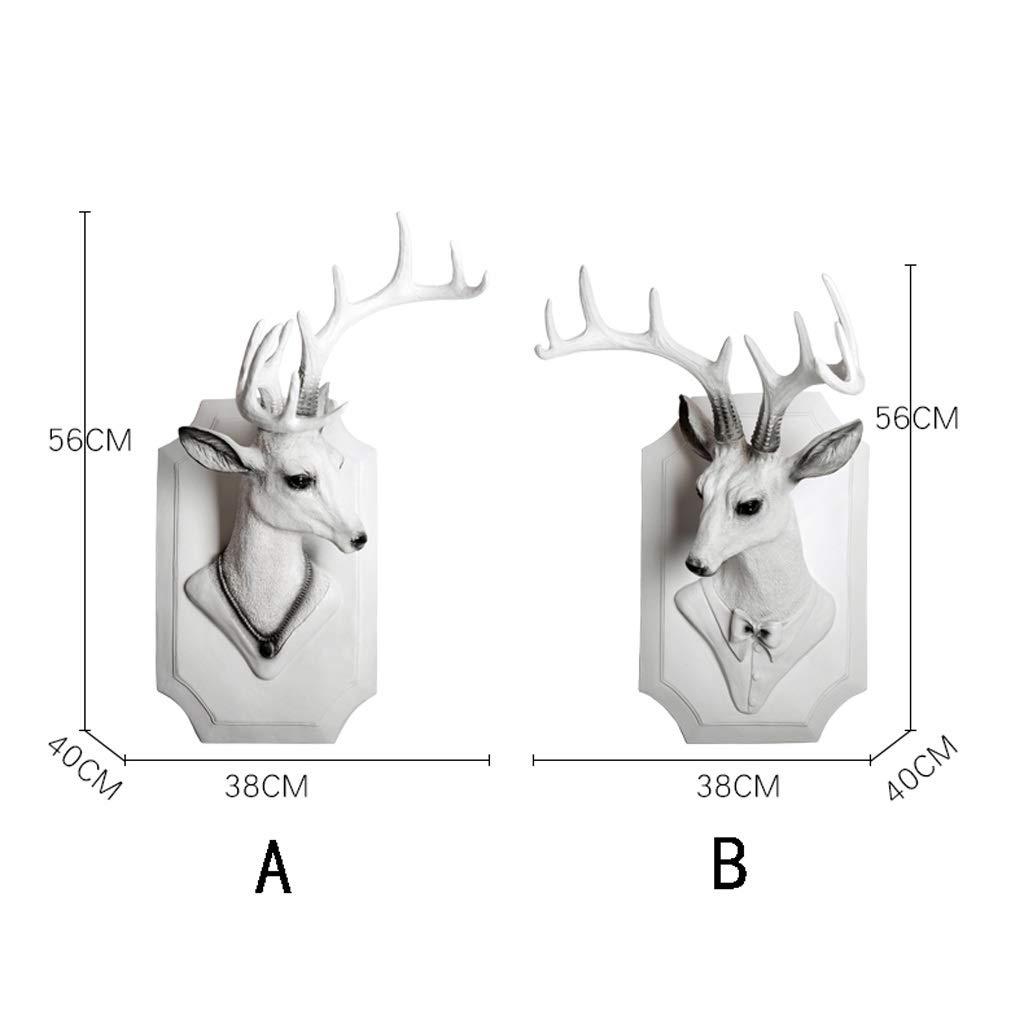 Size : A 56 cm T/ête danimal Montage mural T/ête de cerf Retro Animal D/écoration Murale Pendentif Simple Sculpture Blanche 3D r/ésine 38 40
