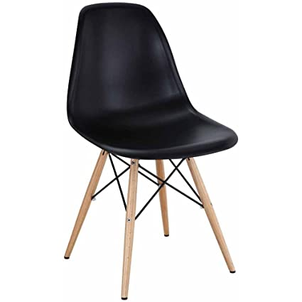 Amazon.com: 2xhome - Set of Two (2) - Black - Eames Side Chair ...