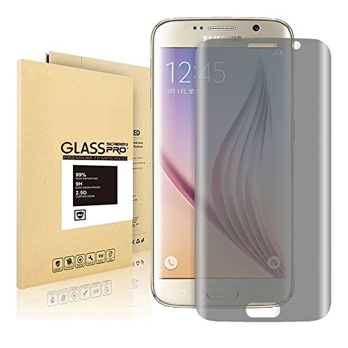 Price comparison product image Samsung Galaxy S6 Edge Screen Protector,  Rockxdays [Privacy Full Screen Coverage Tempered Glass] Premium Ultra Thin High-Response Touch Screen Protector for Samsung Galaxy S6 Edge