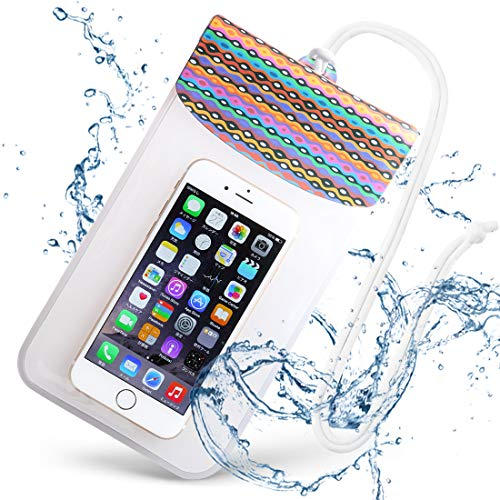 EXCASE Universal Waterproof Case with IPX8 Certified, Perfect touch and clear phone call, for iPhone, Galaxy and Other Smartphones up to 7.4 x 4.5 Inches (Border)