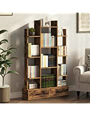 Rolanstar Bookshelf Bookcase with Drawer, Free Standing Tree Bookcase, Display Floor Standing Storage Shelf for Books CDs Plants,Utility Organizer Shelves for Living Room, Bedroom,Rustic Brown