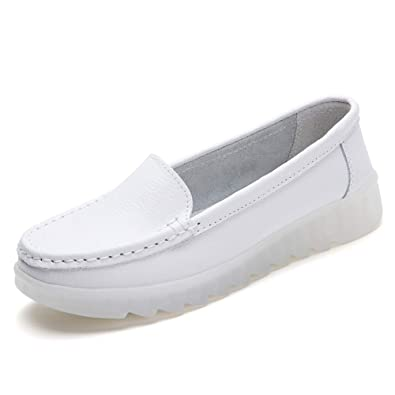 4f0ab870d11fd ZYEN Women's All White Nursing Shoes Comfortable Slip On Nurse Work Wedge  Leather Loafers
