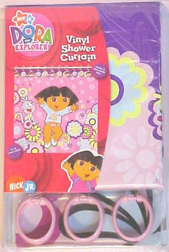 Dora the Explorer Vinyl Shower Curtai with Pink Rings