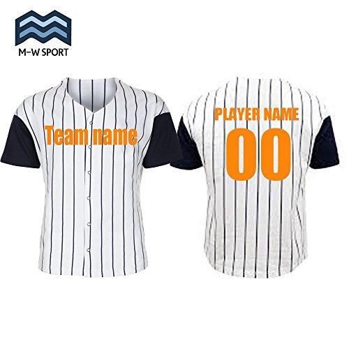 Custom Pinstripe Baseball Jerseys Full Button White Classic Softball Uniform (Blue, M)