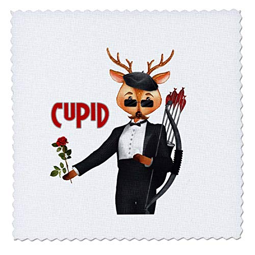 3dRose Doreen Erhardt Christmas Collection - Cupid The Romantic Reindeer a Christmas Portrait - 16x16 inch Quilt Square (qs_290908_6) (Cupid Reindeer)