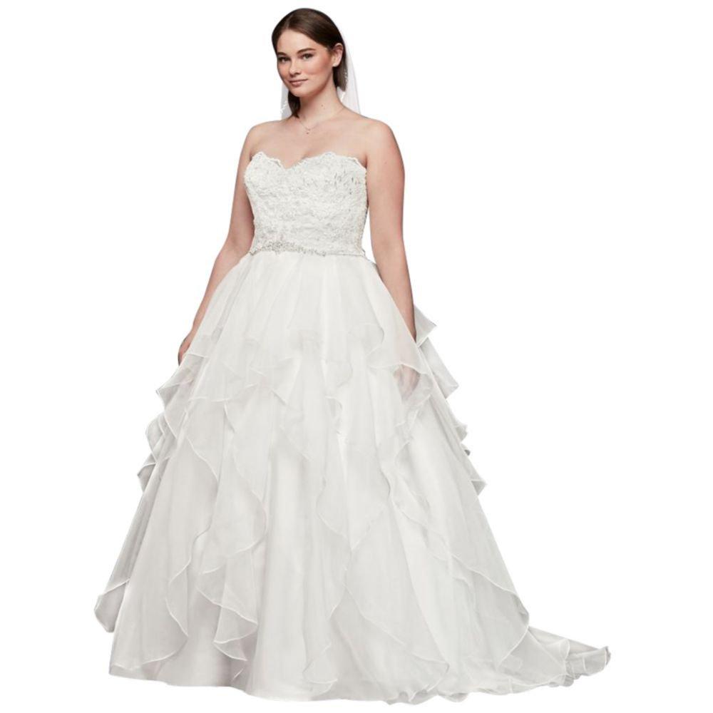 David\'s Bridal Lace Organza Plus Size Ball Gown Wedding Dress Style ...