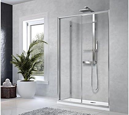 Novellini Box ducha Star 2PF 1 puerta corredera con lado fijo y perfiles Silver: Amazon.es: Hogar