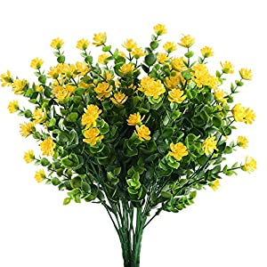 Nahuaa Artificial Flowers 4PCS Fake Plants Faux Eucalyptus Shrubs with Yellow Babys Breath Bushes Bundles Indoor Outdoor Table Centerpieces Arrangements Decor Home Kitchen Office Summer Decorations 24