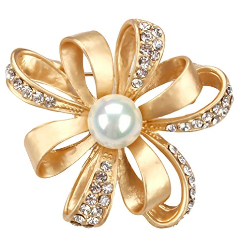 Yodio Pearl Flower Brooch Fashion Pearl Flower Design Wedding Bridal Brooch Pin Rhinestones Corsage Covered Scarves Shawl Clip For Women's Ladies Girls Jewelry Gift (Gold)