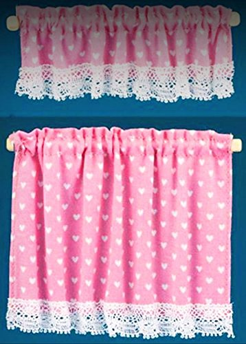 Country Cottage Lace Trim Pink Heart Cafe Curtains 1:12 Dollhouse Miniatures - My Mini Garden Dollhouse Accessories for Outdoor or House Decor