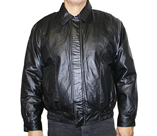 Men's genuine napa leather classic bomber jacket with zip out lining_Black_ X Large