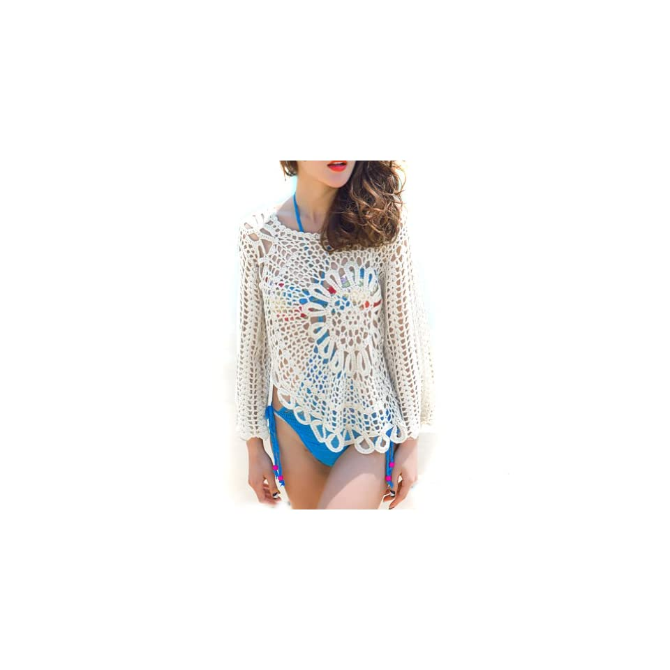 Autofor Handmade Sexy Women Free Size Sheer Lace Knit Crochet shawl Beach Cover Up Dress Blouse Top Beach Poncho Swimwear Bikini Cover Up Beach Dress