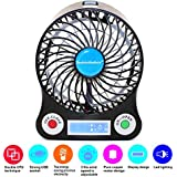 TechIntheBox LED display Portable Fan 4-inch 3 Speeds Mini USB Rechargeable Fan with LED Light Powered By Electric-powered or 18650 Lithium Rechargeable Battery Micro USB Cable Via USB Port of Notebook/ Computer, Cool Fan for Desktop Indoor and Outdoor Activities As Camping/Boating/Climbing/Biking/Hiking/Travel and/Picnic/Hot Summer Outdoor Travelling ETC (Black)