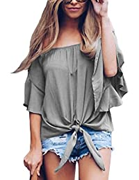 Asvivid Womens Solid Off The Shoulder Flare Sleeve T-Shirt Tie Knot Blouses and Tops Small Grey
