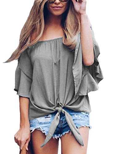 Asvivid Womens Solid Tube Ruffle Short Sleeve Tee Tops Ladies Summer Blouse Tunics Large Grey