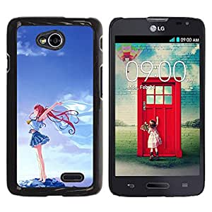 FECELL CITY // Duro Aluminio Pegatina PC Caso decorativo Funda Carcasa de Protección para LG Optimus L70 / LS620 / D325 / MS323 // Girl Blue Sky Cartoon Redhead