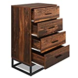 WLIVE 4 Drawer Chest, High Dresser, Storage Cabinet with Steel Frame for Home Office, Rustic O9 Oak