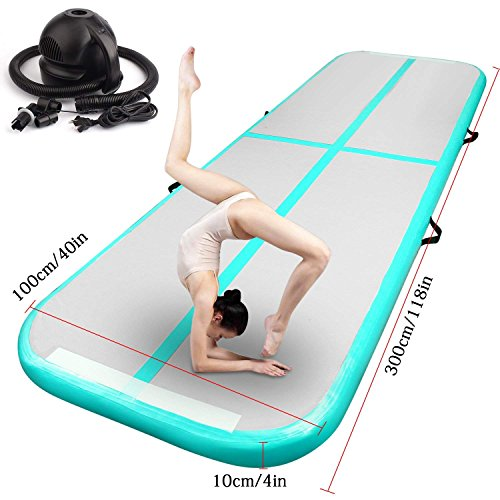 FBSPORT Inflatable Gymnastics AirTrack Tumbling Mat Air Track Floor Mats with Electric Air Pump for Home Use/Training/Cheerleading/Beach/Park and Water (New Green mat 3m, 9.84)