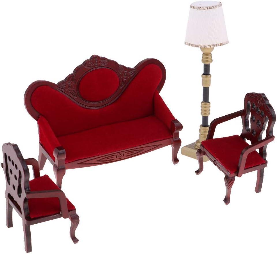 ZSMD Vintage 1/12 Dollhouse Living Room Furniture Kit - Velvet Sofa Wooden Chair & Floor Lamp Model Kids Pretend Play Toy
