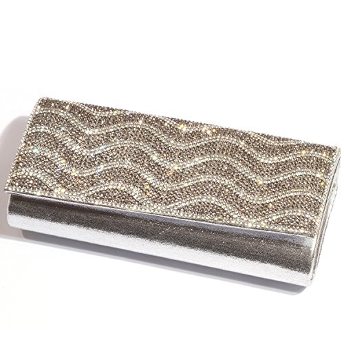 Evening Rhinestone Bags Purses Digabi Crystal Silver Clutch women Wavy Pattern qPCCwYE