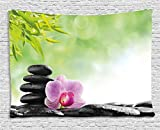 Ambesonne Asian Tapestry by, Zen Basalt Stone and Orchid Flower with Dew Harmony Therapeutic Spa Theme Photo, Wall Hanging for Bedroom Living Room Dorm, 60WX40L Inches, Green Black Pink