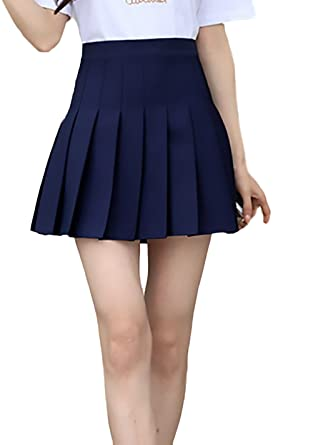 ae9f37eb85 Battercake Faldas Mujer Verano Moda Casual Elegantes Color Sólido Cintura  Alta Una Línea Casuales Mujeres Minifalda Falda Plisada Escolar Uniforme   ...