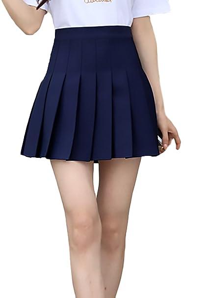 61f707a656 Faldas Mujer Verano Moda Casual Elegantes Color Sólido Cintura Basic Alta  Una Línea Minifalda Falda Plisada Escolar Uniforme Ropa  Amazon.es  Ropa y  ...
