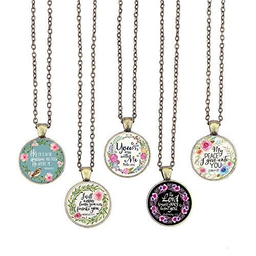 Graduation Bible Verses (BUENAVO Bible Verse Pendant Necklace Christian Songs and Hymns Glass Cabochon Pendant Inspired Necklace with 24 inches Chain Handmade for Gifts 5pcs (Bible 5, Bible)