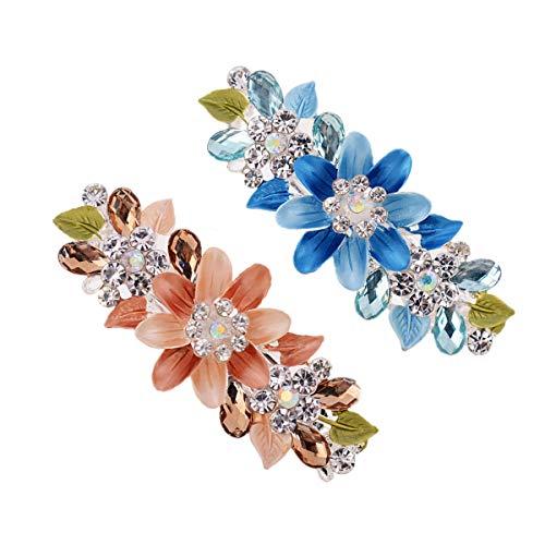 2Pcs Crystal Rhinestones Hair Barrettes for Women Girls,French Hair Clip for Wedding Hair Pins Bridal Hair Jewelry Accessories ()