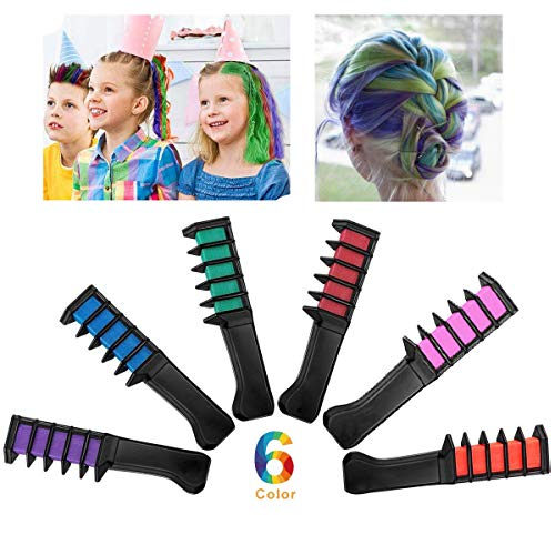 BIOTI Temporary Hair Color Dye Chalk Combs Kit for Girls Hair Salon Games, Birthday Party,Cosplay and Halloween Hair Dyeing DIY Festival Dress up Works, Pretty Gifts for Kids(6 -