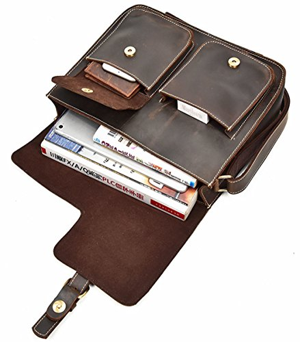 B Durable Retro Brown Brand Leather Faux Bag Shoulder Multifunction Style Briefcase Flip Messenger Oruil Clasp Fashion Men's brown gEqwdTT