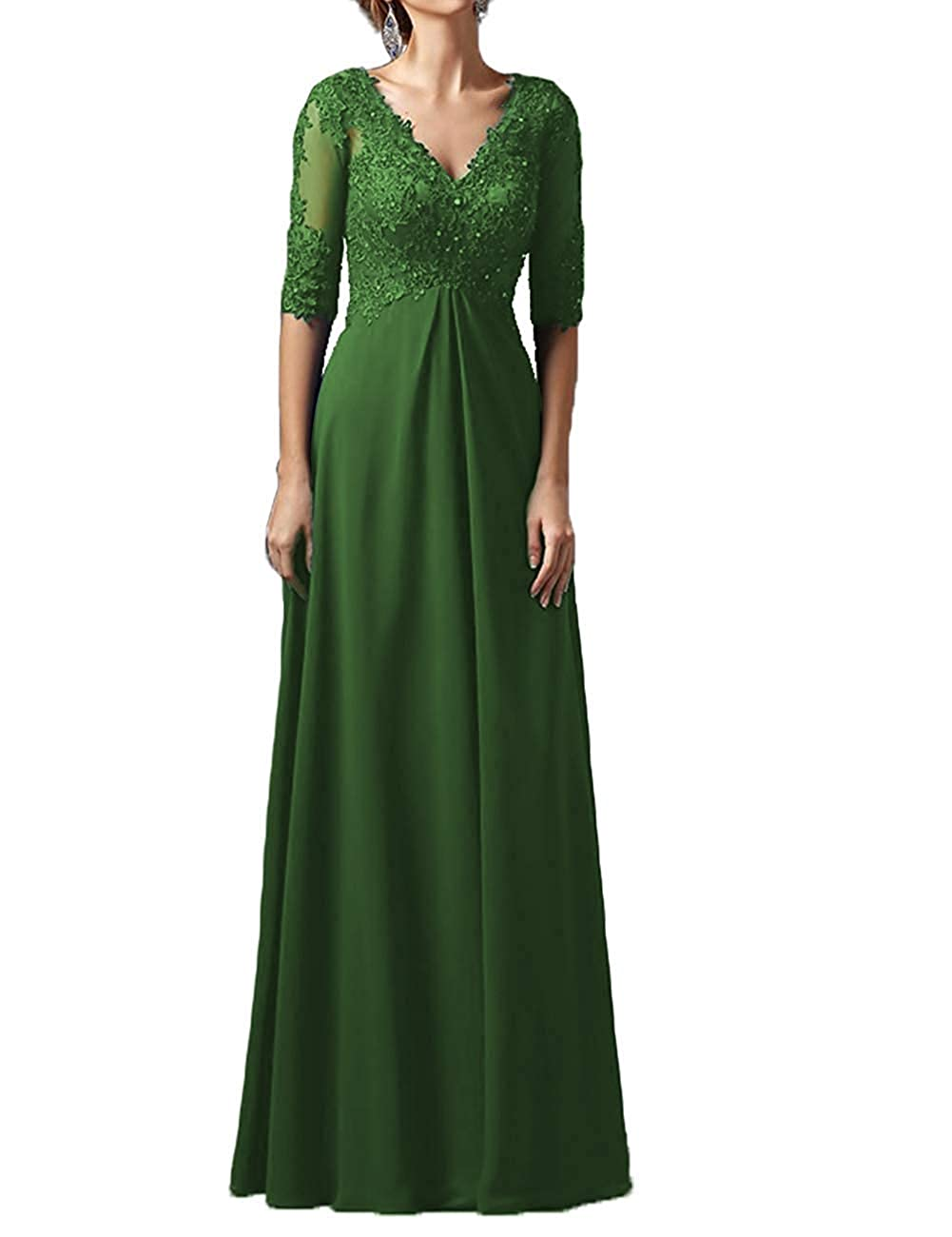 Dark Green Mother Dress Long Sleeves V Neck Plus Size Mother of The Bride Dress Formal Party Evening Gowns